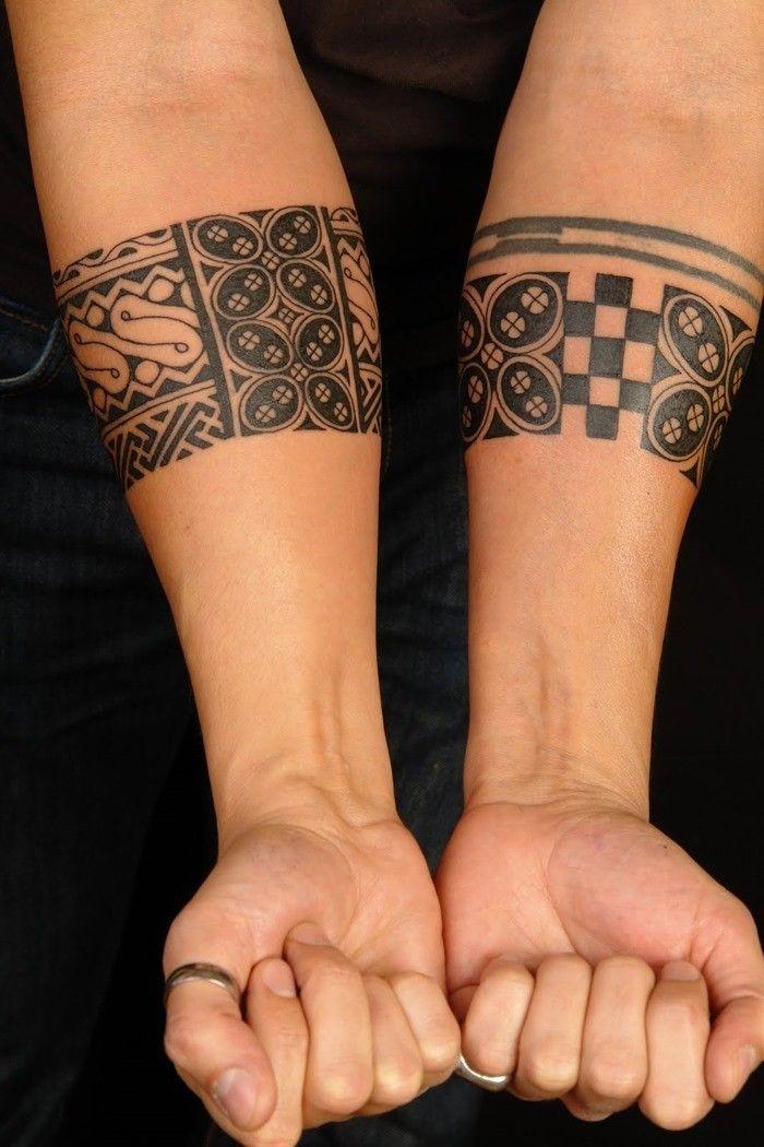 Black ink tribal forearm tattoo for men