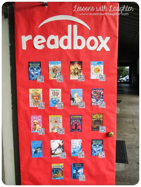 Lessons with Laughter: Readbox Door! Students make book trailers for a book they read using QR codes and decorate the door as a Redbox.