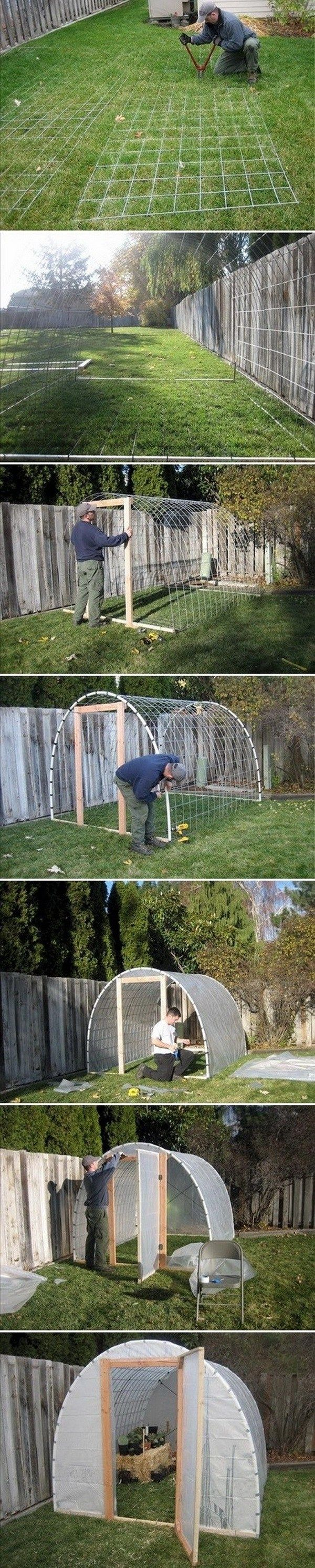 Hardware Fencing Hoop House. Use a heavy gauge galvanized welded wire as the fencing material.  The plastic cover can be removable to allow beans, gourds etc to grow in the summer!