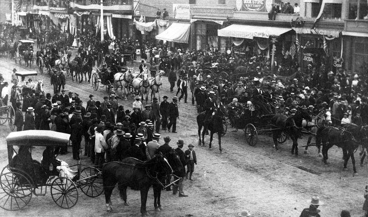 Photograph of President Benjamin Harrison in a parade on Main Street, Riverside, California Date: April 23, 1891