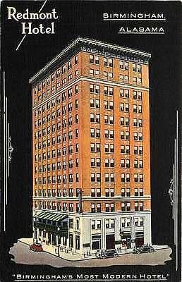 Birmingham Alabama AL 1935 Redmont Hotel Antique Vintage Advertising Postcard