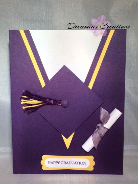Cap & Gown Graduation Cards by DreamiasCreations on Etsy