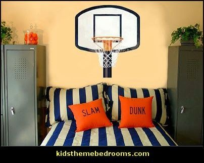 Best 25 basketball themed rooms ideas on pinterest for Bedroom basketball hoop