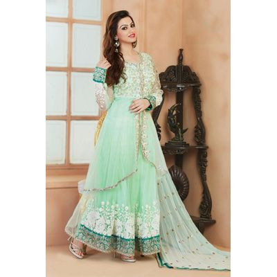 SOS Light Green Net Semi Stitched Salwar Suit