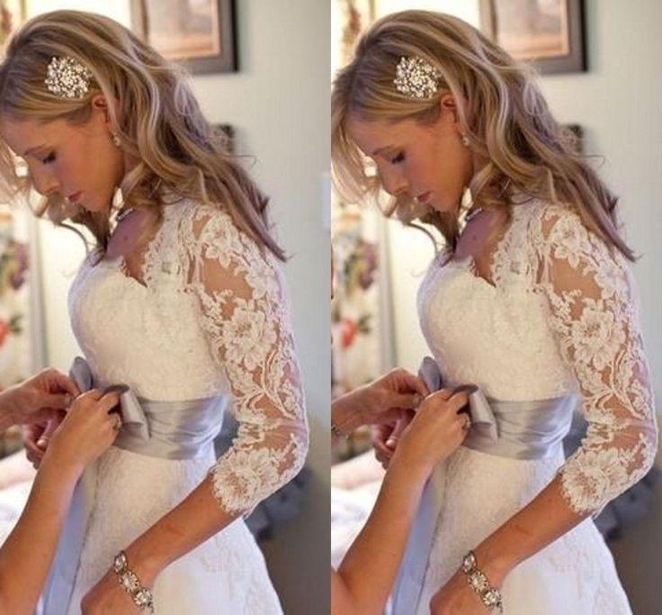 Elegant Fall Winter Sheer Lace Bolero Jacket White/Ivory Bridal Wedding Shawls #Jacket