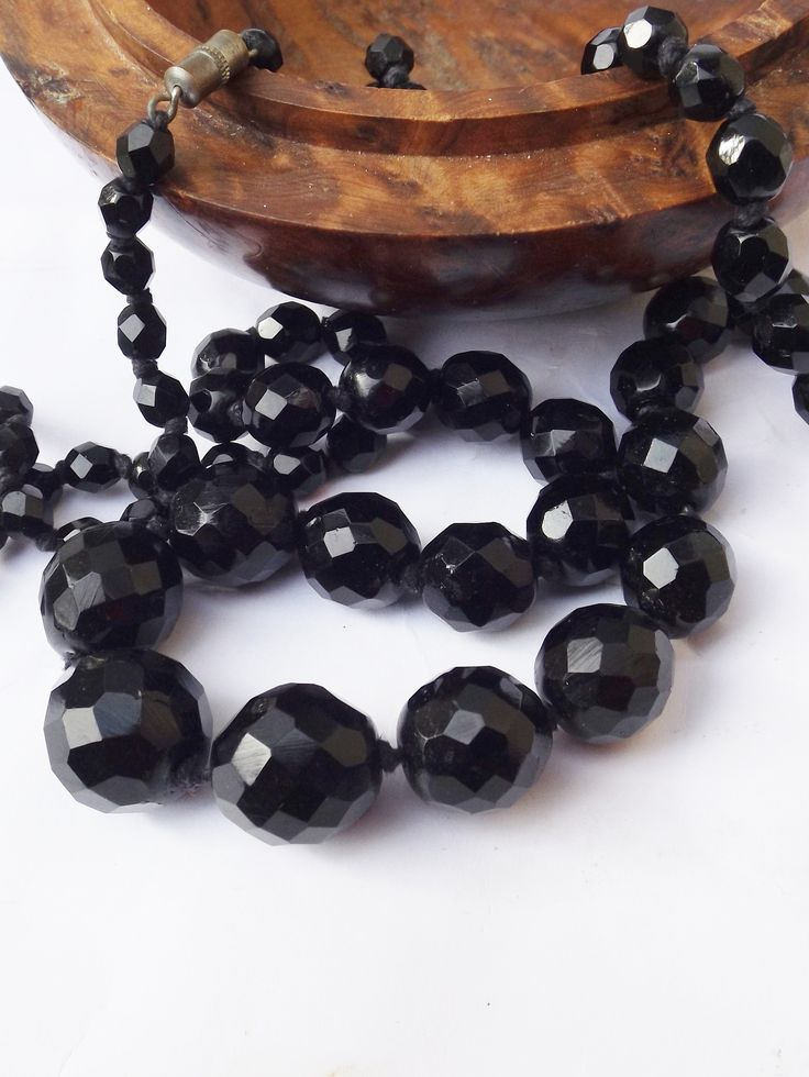 https://www.etsy.com/uk/listing/601142639/1900-black-glass-necklace-faceted-glass?ref=listing-shop-header-0  Excited to share the latest addition to my #etsy shop: 1900 black glass necklace, faceted glass, real antique, hand knotted necklace, goth necklace, mourning