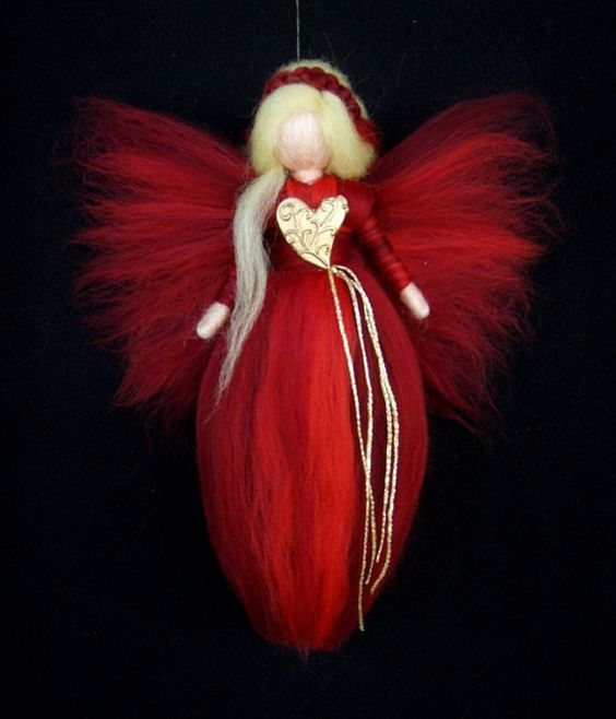 Needle Felted Wool Fairy Angel Heart Doll XMas von Holichsmir: