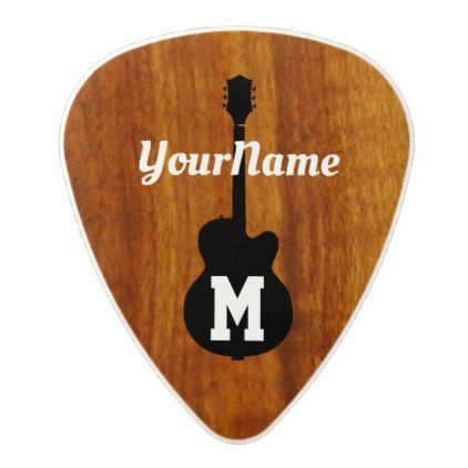 personalized rustic wood monogram polycarbonate guitar pick - script gifts template templates diy customize personalize special