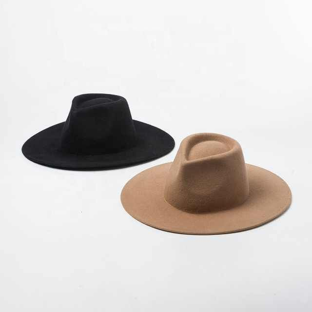 2021 Autumn Winter Unisex Women Lady Men Trendy Outdoor Travelling Flat Wide Brim Fedora Felt Hat Buy Flat Wide Brim Fedora Felt Hat Ladies Wide Brim Wool Fel Wide Brim Fedora