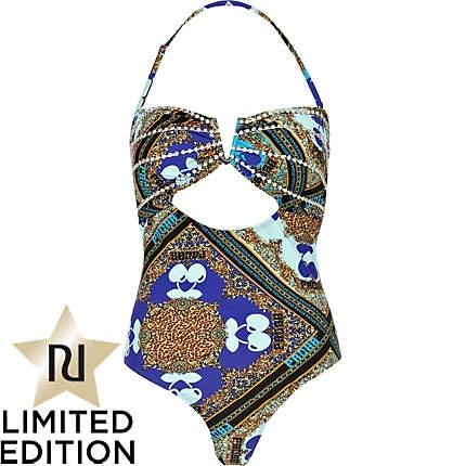 blue print pacha monokini swimsuit  - River Island