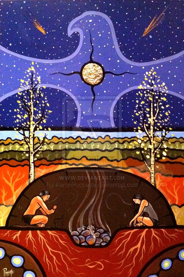 "Teachings of the Sweat Lodge by Métis (First Nations) artist Aaron Paquette: ""This is a painting of a very powerful ceremony, and because of that might invite some controversy. It is my intent to have this painting be used primarily as a teaching tool for youth. If we don't share, we lose."""