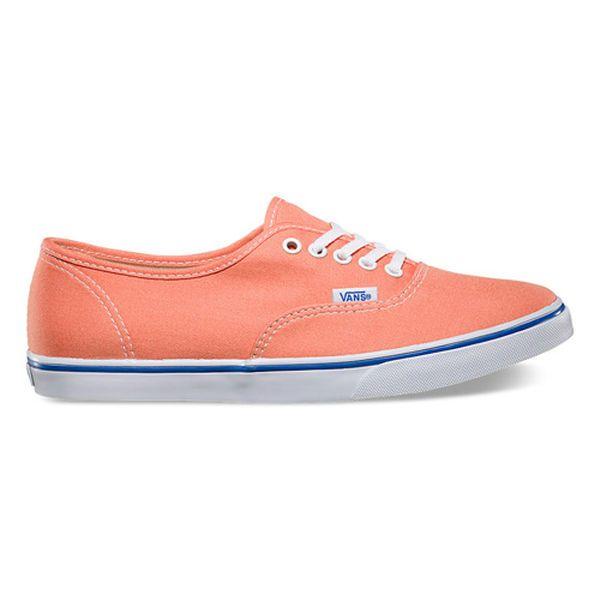 Vans Juniors Authentic Lo Pro Skate Shoes – White/Orange