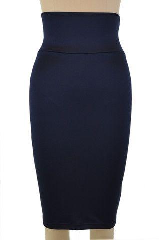 stylish staple high waist pencil skirt - navy blue | le bomb shop