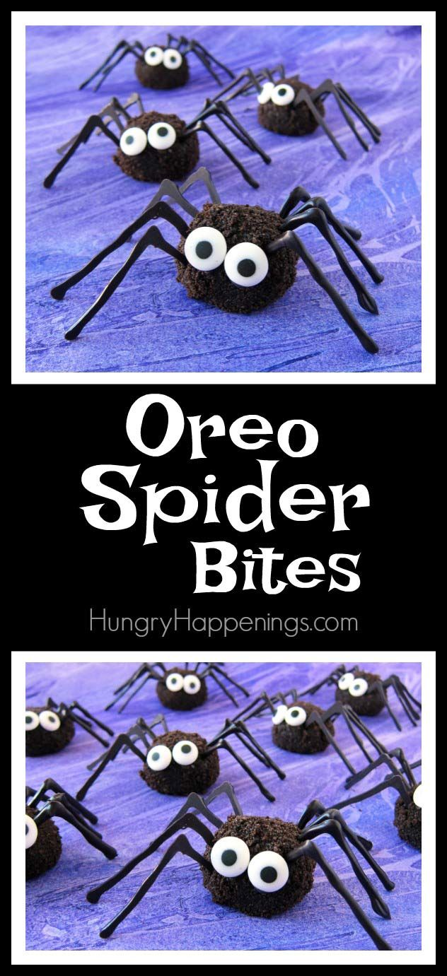 Combine Oreo Cookies with cream cheese to make these decadently sweet Oreo Spider Bites for your Halloween party. They are a bit creepy but totally cute.