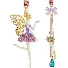 Betsey Johnson Princess Charming Fairy Non-Matching Earrings