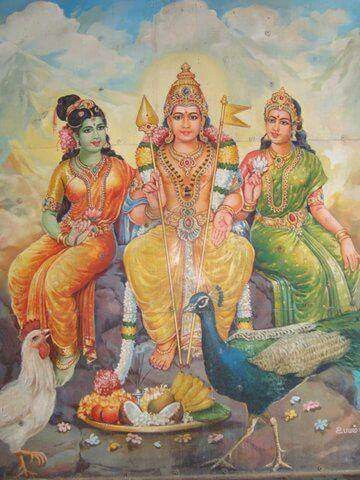 Muruga  with valli and devayani