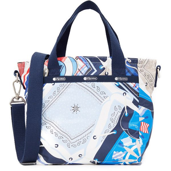LeSportsac Mini Everyday Tote (120 CAD) ❤ liked on Polyvore featuring bags, handbags, tote bags, beach scarf, handbag tote, zip top tote bags, blue purse, blue handbags and print tote bags