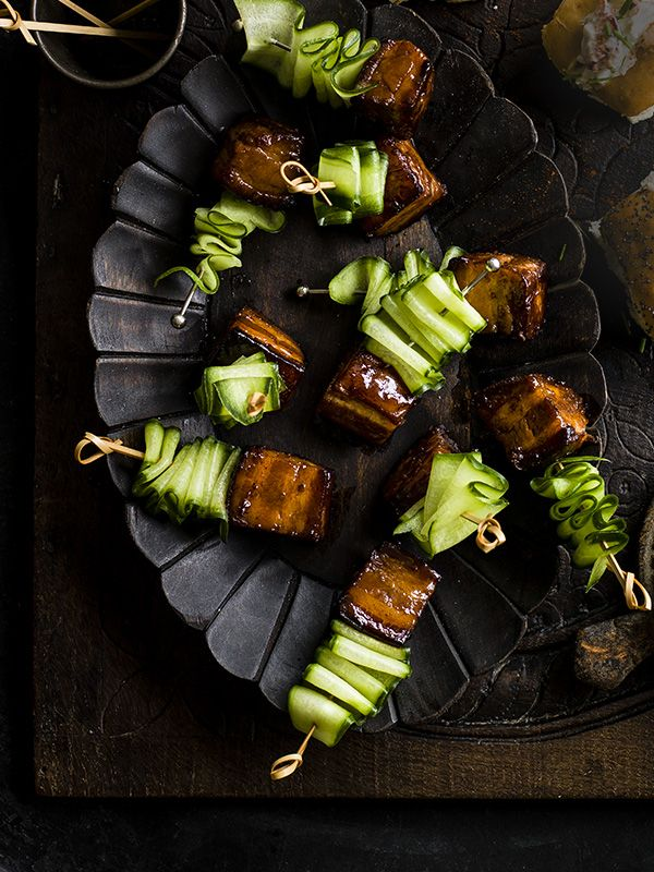 Pork-belly skewers with Vietnamese caramel sauce