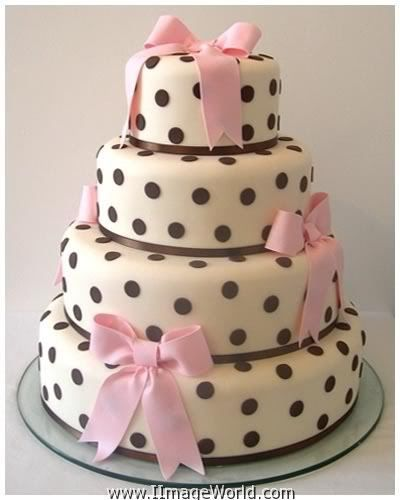 Birthday Cake Photos For Love : Little girls birthday cake. Love the black polkadots ...