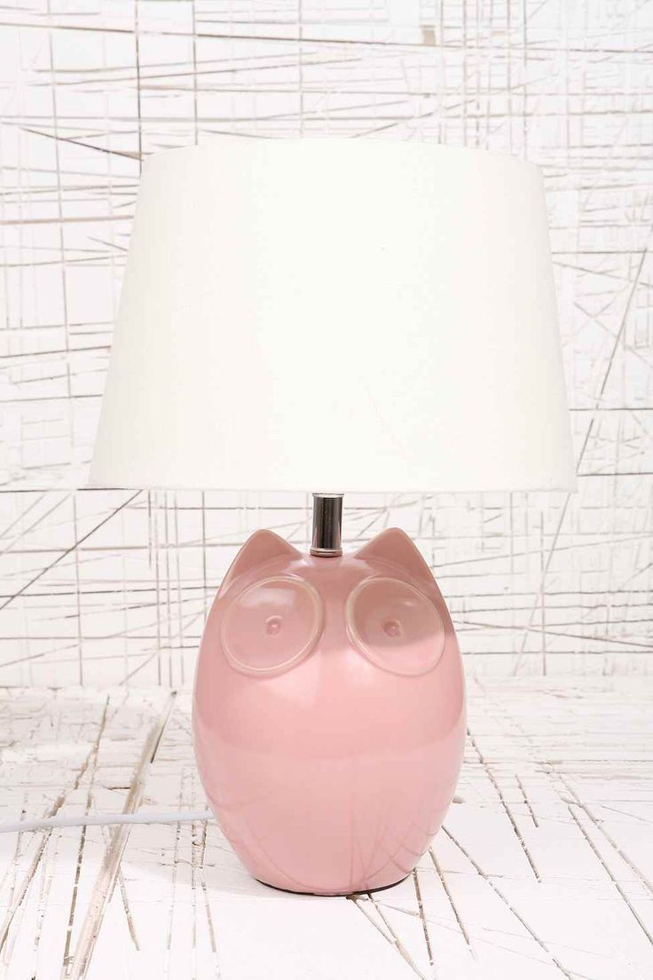Hector the Owl Pink Lamp UK Plug