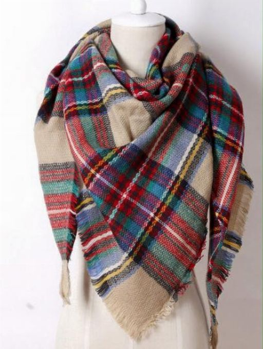 Camel Plaid Triangle Scarf  **Best Seller Alert** www.royalravenboutique.com