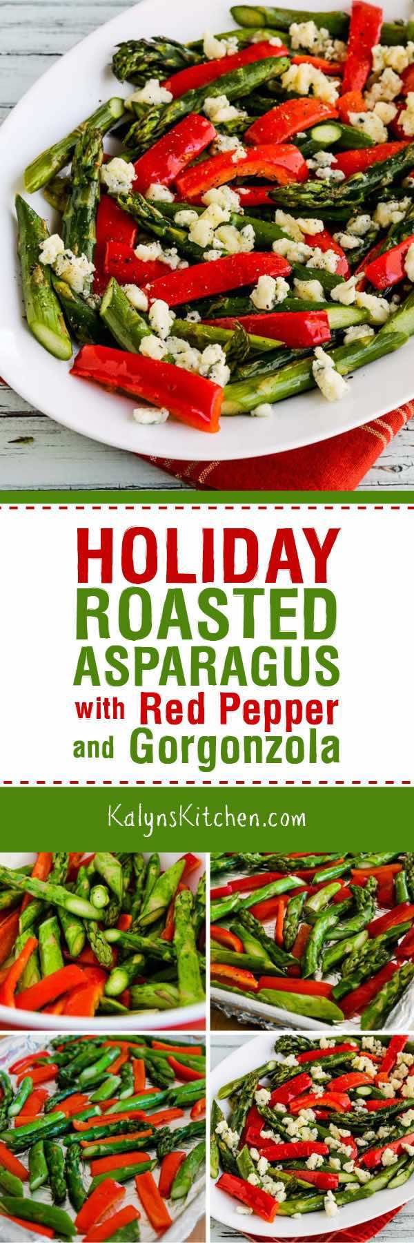 Holiday Roasted Asparagus with Red Pepper and Gorgonzola is easy and delicious, no matter when you make it. This festive dish cooks in 15 minutes, and is low-carb, Keto, low-glycemic, gluten-free, and South Beach Diet friendly. [found on KalynsKitchen.com] #Asparagus #RoastedAsparagus #HolidayRoastedAsparagus #LowCarbRoastedAsparagus