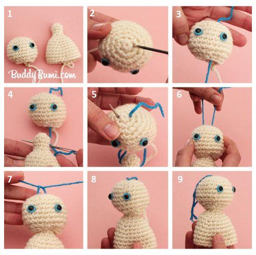 Amigurumi How to do Movable Head - Tutorial ❥ 4U // hf