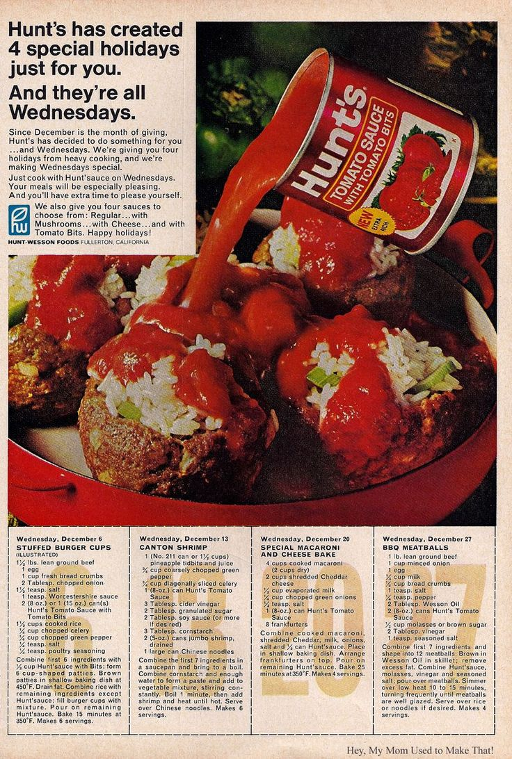 Hunts BBQ meatballs 1967. This site has a ton of retro recipes, fun to look through.