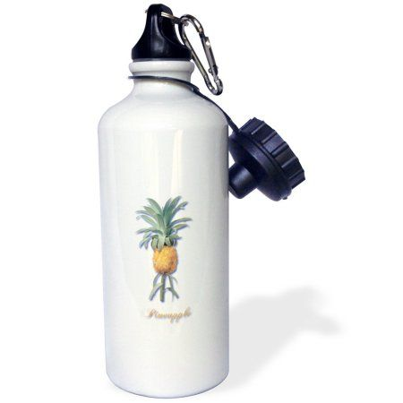 3dRose Tropical Pineapple in Deep Yellow Botanical Print, Sports Water Bottle, 21oz