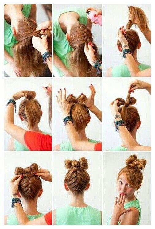 French braid into a bow bun...