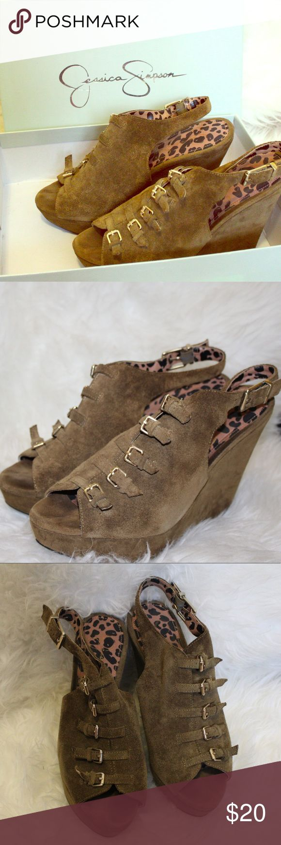 Jessica Simpson Aged Bronze wedges Suede Bronze/Moss Green Jessica Simpson wedges. Gently Used. Jessica Simpson Shoes Wedges