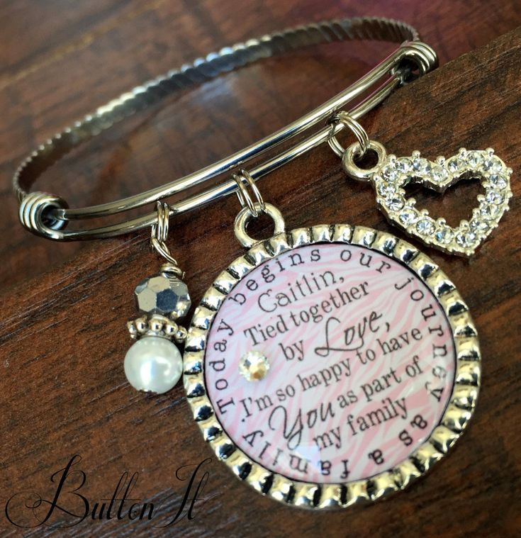 BLENDED FAMILY wedding, STEPDAUGHTER gift, blended family jewelry, Personalized, Today begins our journey as a family, stackable bracelet by buttonit on Etsy