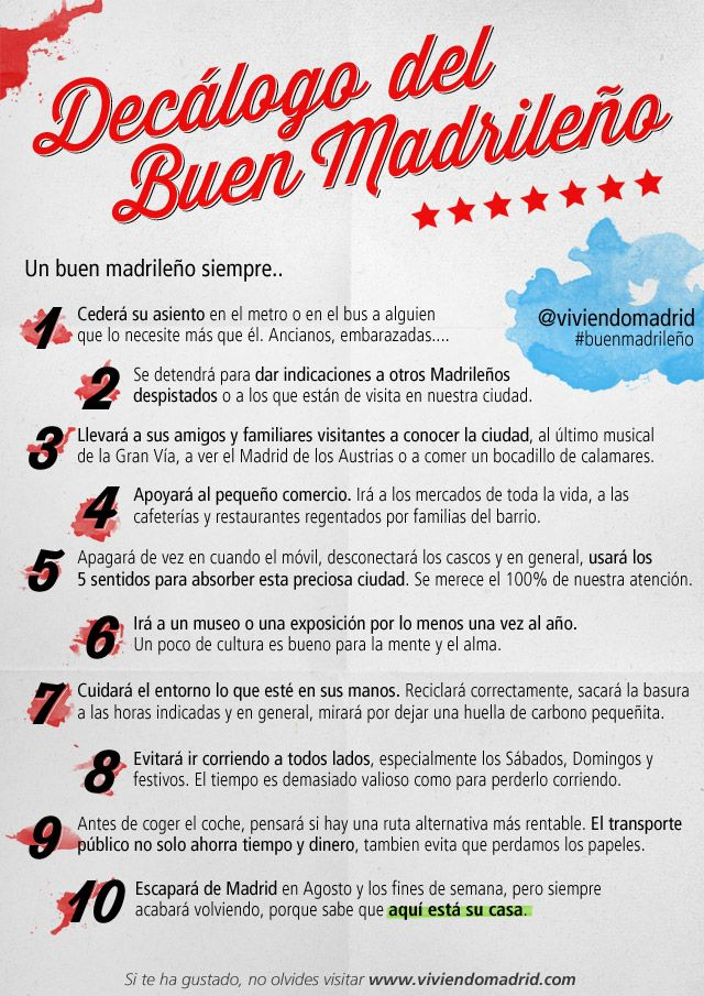¿Eres un #buenmadrileño? Decálogo del Buen Madrileño en Viviendo Madrid