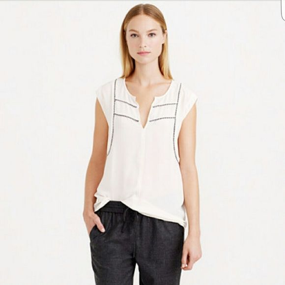 "New J.Crew Nautical  Ivory Cami Top New without tags J. Crew Nautical  Ivory sleeveless Top Cami. Black & white rope detail... SZ 10. Under armpit to under armpit 19"" , length from shoulder to end of top 25"". Style # B6171.. I HAVE THE BLACK TOP IDENTICAL TO THIS ONE LISTED J. Crew Tops"