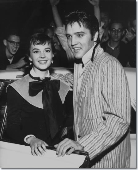 Natalie Wood and Elvis Presley outside the Hotel Chisca - October 31, 1956