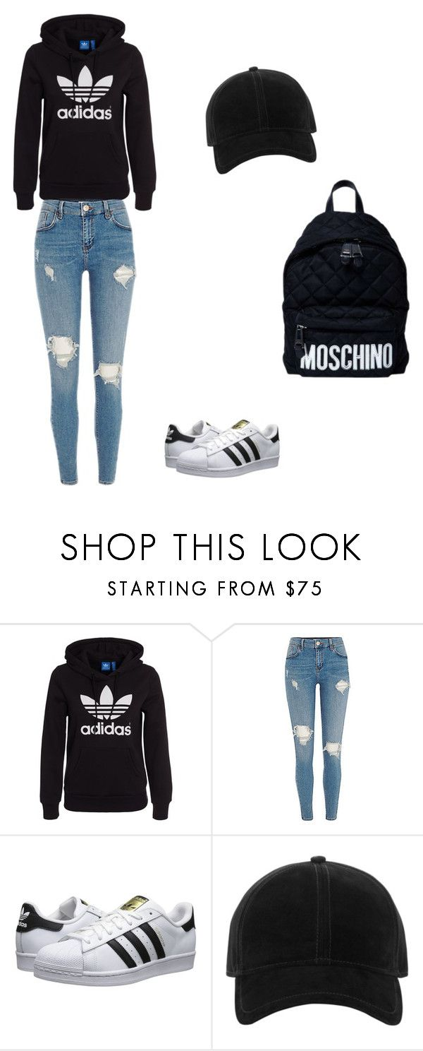"""""""School outfit #2"""" by joanaaguas2002 on Polyvore featuring adidas Originals, rag & bone, Moschino, outfit, school, like and follow"""
