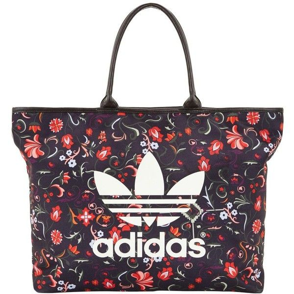 Adidas Originals Moscow Tote ($42) ❤ liked on Polyvore featuring bags, handbags, tote bags, floral print purse, print purse, adidas originals, flower print handbags and white tote bag