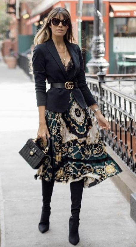 Black blazer and this beautiful skirt with over the knee boots is just perfect combination.  over the knee boots Blazer Belt Skirt