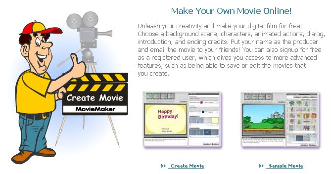 """Make Your Own Movie Online! FREE! DigitalFilms.com MovieMaker    """"Unleash your creativity and make your digital film for free!  Choose a background scene, characters, animated actions, dialog,  introduction, and ending credits. Put your name as the producer  and email the movie to your friends! You can also signup for free  as a registered user, which gives you access to more advanced  features, such as being able to save or edit the movies that  you create.""""    I tried DigitalFilms…"""