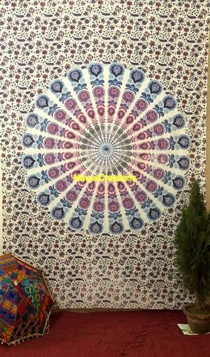 Hippie Mandala Tapestry Throw Indian Wall Hanging Bedspread Bohemian Decor .  These Tapestries are completely screen printed in traditional Indian method and takes around a week to complete. 100% Cotton - This tapestry are printed, not quilted or woven. They are hippie Indian tapestries.