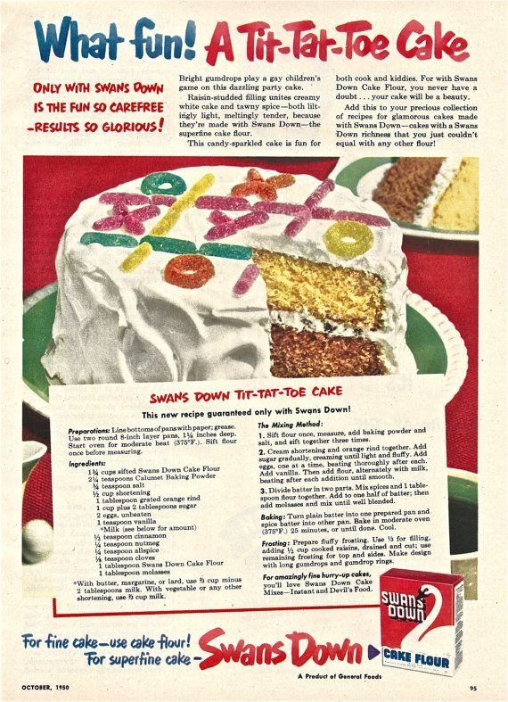 1950s Vintage Cake Ad Swans Down TITTATTOE by ACMEVintageLimited, $7.00