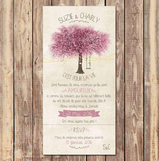 Faire-Part Romantique arbre en fleur et guirlandes