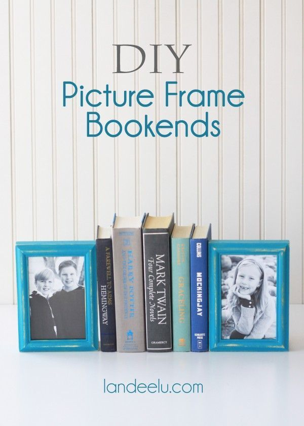 DIY Picture Frame Bookends Tutorial  - Add a cute personal touch to your home decor in the library or family room!  So fun!  landeelu.com