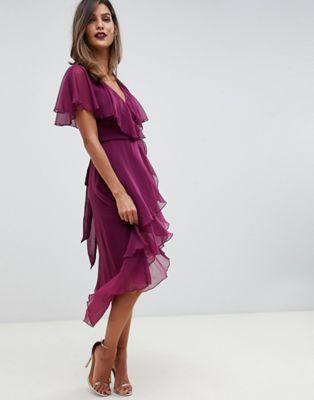a76520624996 DESIGN cape back dipped hem midi dress in 2019   oofta   Midi dress ...
