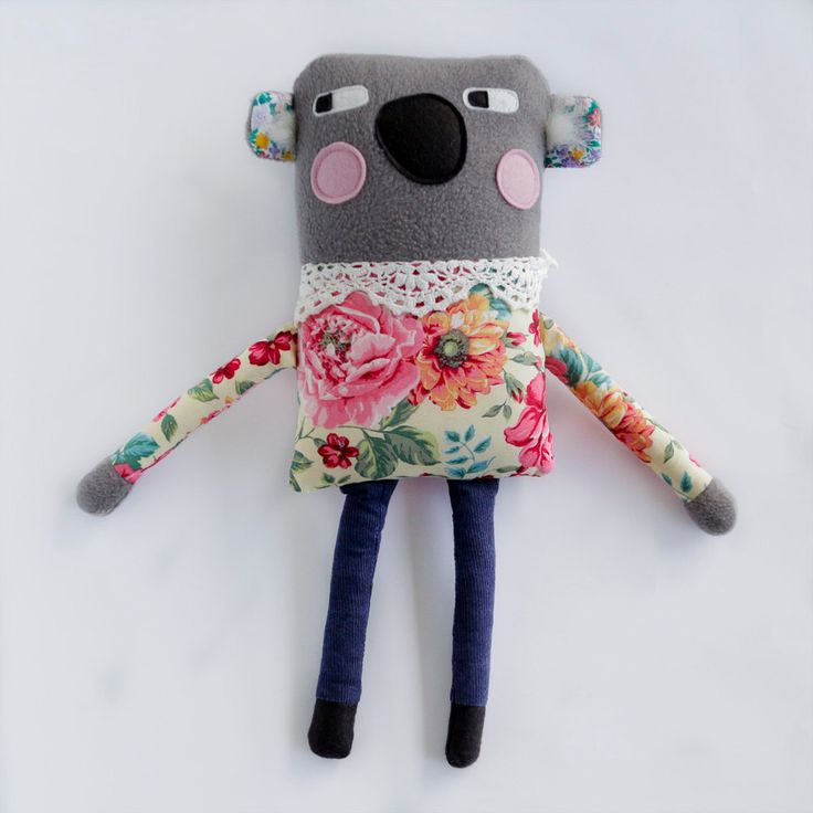 Plush Koala Softie, Handmade Animal Soft Toy, Cuddly Grey Fleece with Floral Cotton, Great gift for a Girl or Baby Nursery Kids Room Decor by alifeinthemaking on Etsy