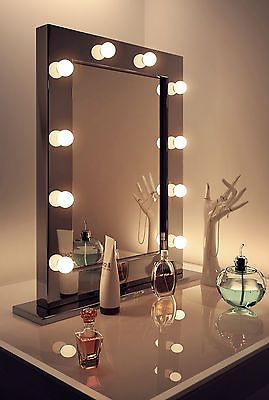 Diamond X Gloss Black Hollywood Makeup Mirror Warm White Dimmable LED k112WW in Health & Beauty, Make-Up, Make-Up Tools & Accessories | eBay