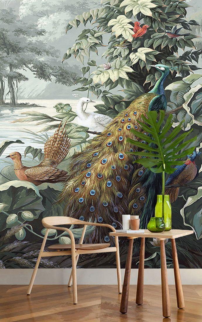 Papier peint d\u0027artiste issu d\u0027un tableau de peinture format portrait
