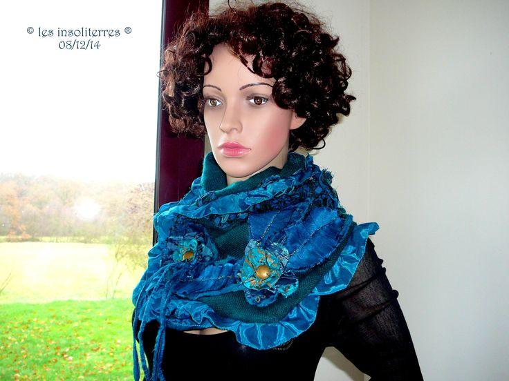 écharpe col snood étamine de laine et soie bleu pétrole : Echarpe, foulard, cravate par les-insoliterres