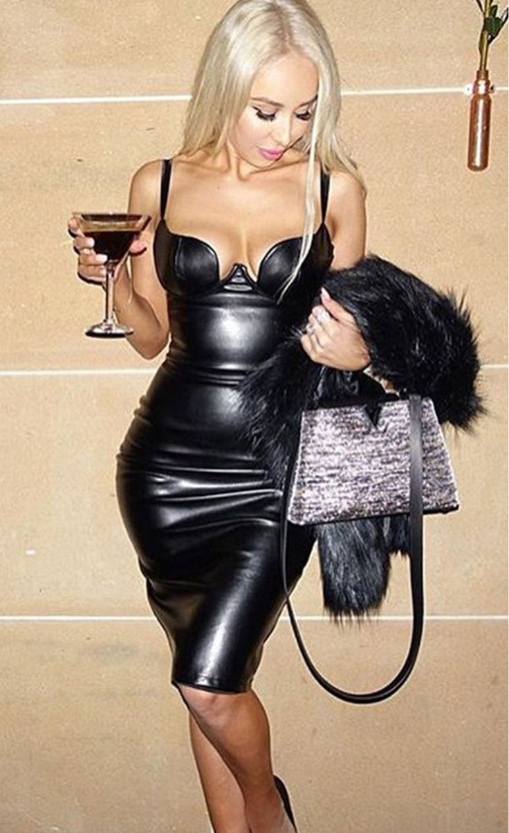 Faux Leather Padded Midi Dress Leather Amp Latex Dresses