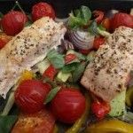 Salmon & Roasted Red Pepper Traybake